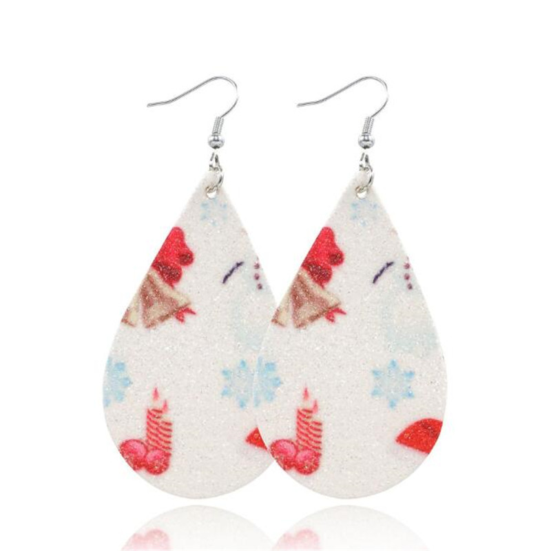 2019 Printing Flowers Leather Earrings For Women Teardrop PU Leather Earrings Fashion Jewelry Gifts Earrings Wholesale in Drop Earrings from Jewelry Accessories
