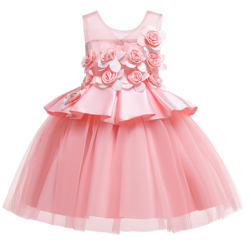 Girl's   Wedding Party Short Sleeve Cute Little   Dress   Princess   Flower     Girl     Dresses   2019 Soft Tulle First Communion   Dress