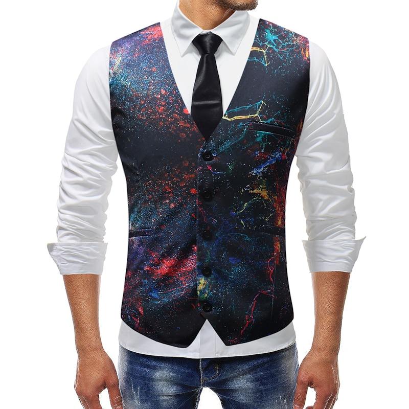 WSGYJ Dress Vests Men Slim Fit Casual Graffiti Printed Sleeveless Jacket Coat Mens Formal Waistcoats Dress Suit Vest 5XL