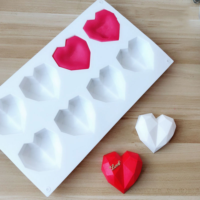 Silicone Mold 8 Hole Love Heart Diamond Shape Surface 3D Candle Mold DIY Plaster Gypsum Soap Molds Mousse Cake Mould Baking Tool