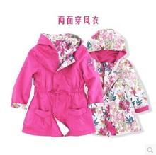 Супер бренд дети два — стороны пальто, Цветочный девочки верхняя одежда, Дизайнер девочки-младенцы бутик плащ, 3-12Y