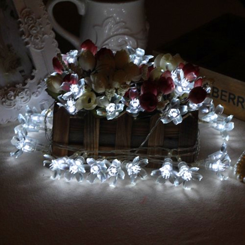 New 5M Fairy Cherry Garland LED Lights String Flower Lights Outdoor LED Christmas Lamps Lighting Holiday Party Wedding Luminaria ...
