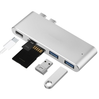 2 USB 3 0 Hub Card Reader Hub TF SD Card Reader Type C Hub Thunderbolt