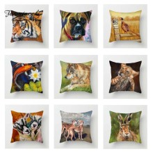 Fuwatacchi Oil Painting Animals Cushion Cover Tiger Wolf Rabbit Pillow for Sofa Car Decorative Pillowcases Square 2019