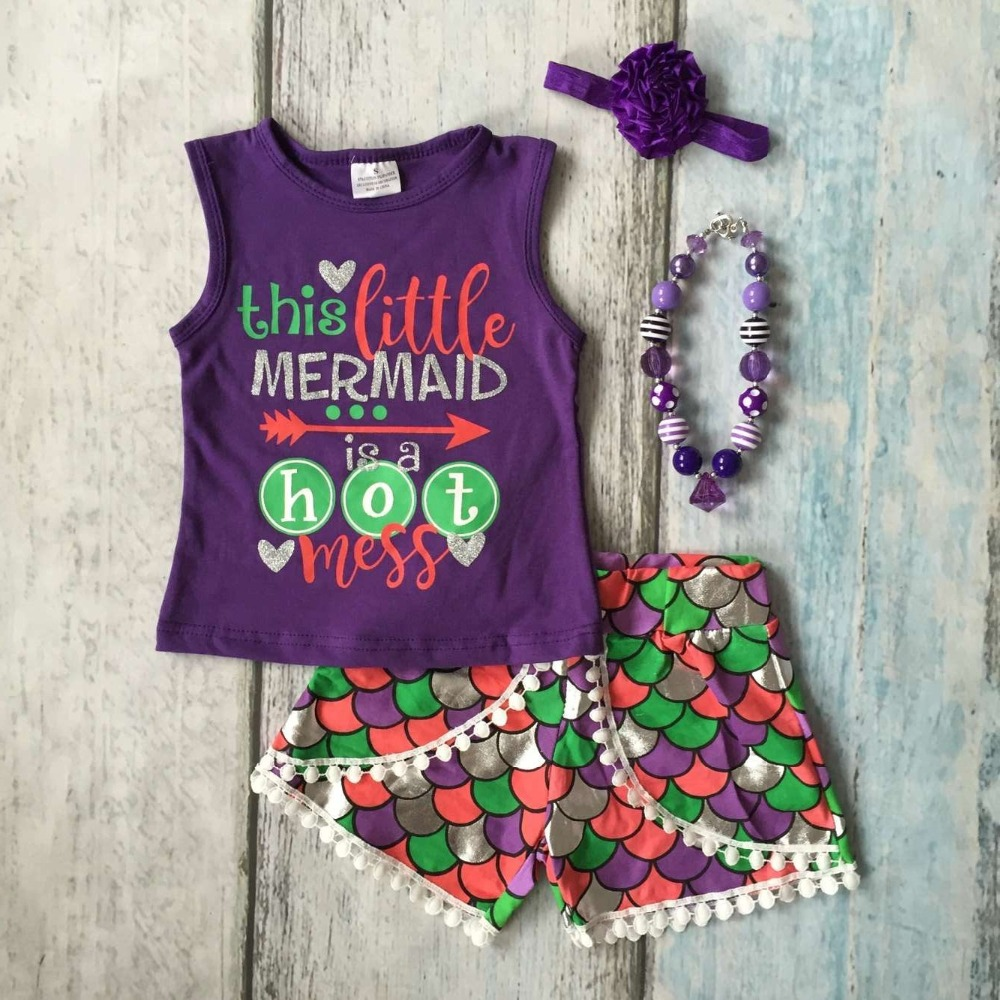 baby Girls Summer clothes this little mermaid is hot mess outfits baby girls mermaid summer clothing with accesssories baby kids baseball season clothes baby girls love baseball clothing girls summer boutique baseball outfits with accessories