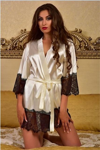 Patchwork lace kimono bath Robes Femme Sexy Long Bathrobes Women Bridesmaid japanese night robe wedding