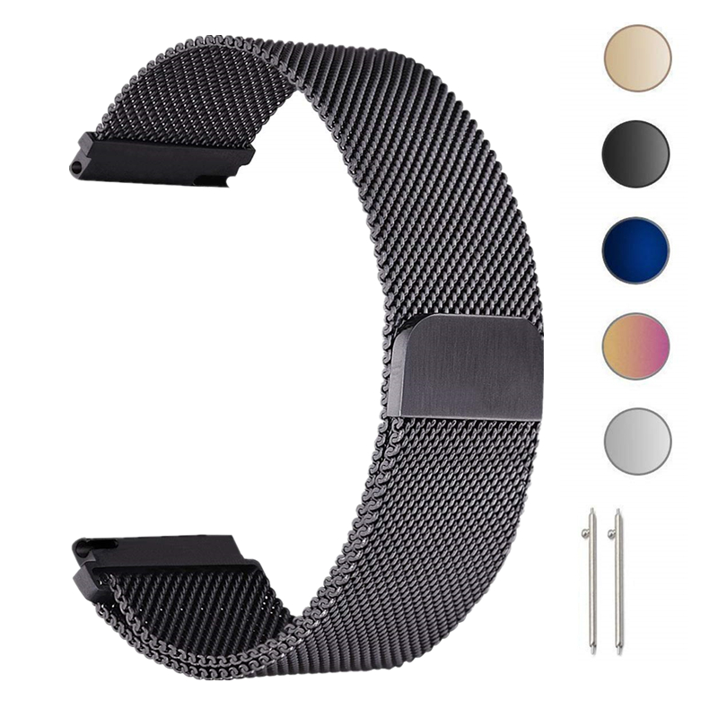 22mm Milanese Loop Strap For Samsung Gear S3 Galaxy Watch 46MM 42MM Active Band 20mm Stainless Steel Band for Gear S2 Amazfit(China)