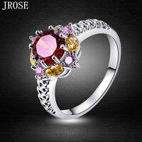 Brand JROSE Beauty Fashion Engagement Round Garnet Pink Topaz Citrine 18K White Gold Plated Ring Size 6 7 8 9 10 Free Shipping
