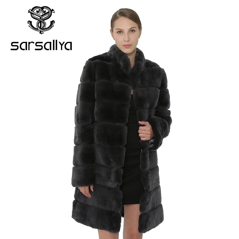 SARSALLYA меха кролика рекса Для женщин пальто Съемная пальто куртка теплая зимняя женская одежда натурального Меха женский пальто куртка