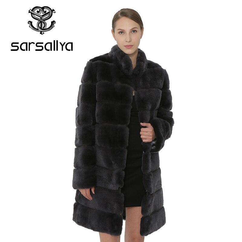 SARSALLYA Rex Pelliccia Del Coniglio Delle Donne del Cappotto Staccabile Giacca Cappotto Caldo di Inverno Delle Donne di Abbigliamento di Pelliccia Naturale Cappotto Femminile Giacca