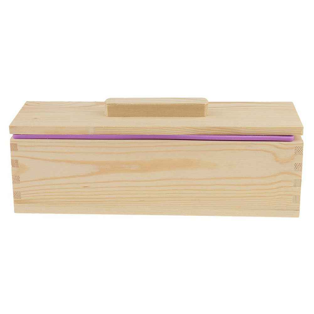 DIY Handmade Soap Silicone Mold - Rectangular Soap Mold with Wooden Box and Wooden Lid - purple + wood, 900ml
