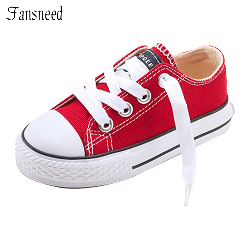 2019 New Classic Children Canvas Shoes Jenter Gutter Candy Sneakers Tendon Sole Casual Shoes Solid Color Chaussures Garcon Enfant