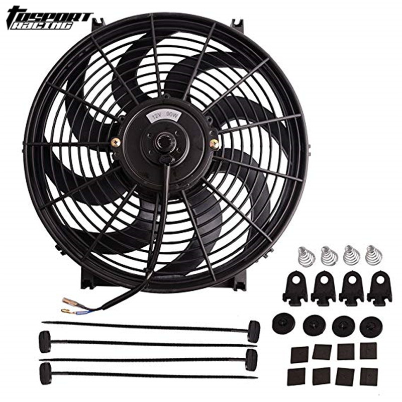 Fans & Kits Realistic 12v 80w 2100rpm 14 Straight Black Blade Electric Cooling Radiator Fan Mounting Kit Universal
