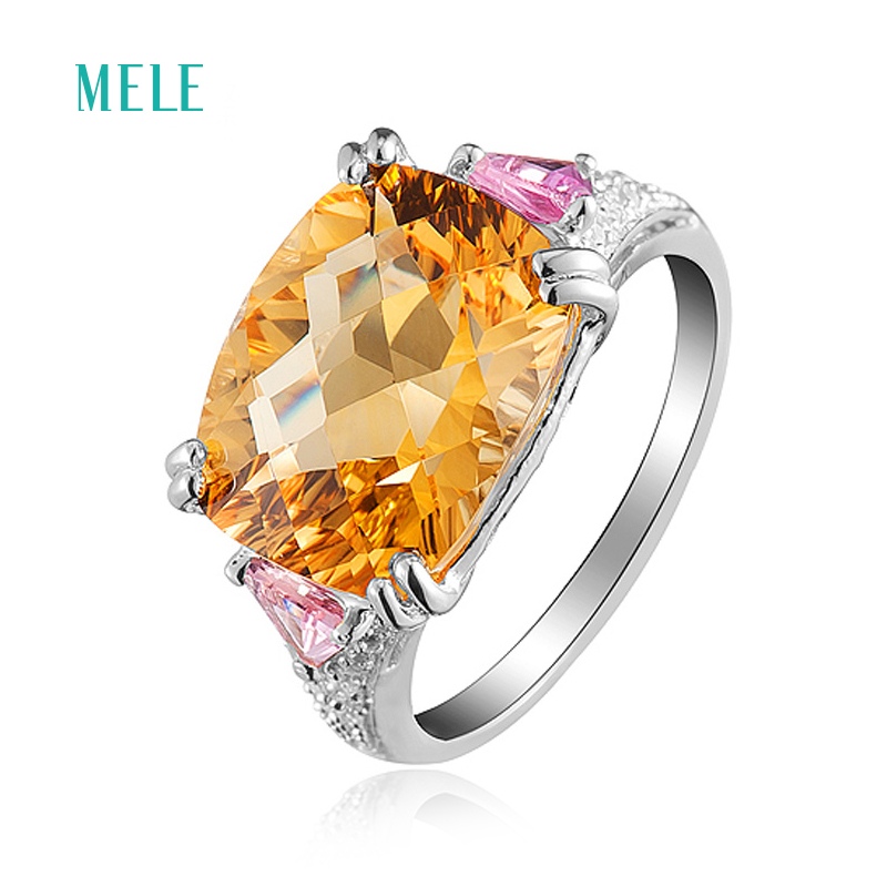 Natural yellow citrine silver ring for women,10mmX14mm fine jewelrywith bright color and full fire,best gift