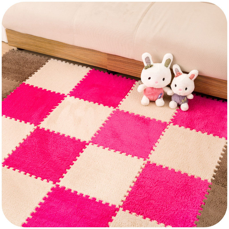 8pcs 30X30cm Suede Splice Puzzle Mat Door Floor Carpet Fur Hair Foam Pad Baby Crawling Cutting Area Rug For Living Room Bed Room