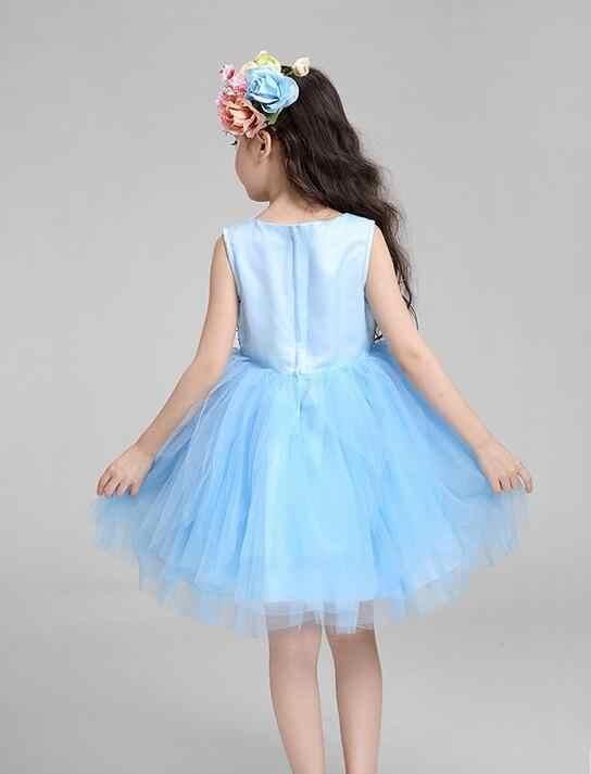 Детские Кружевное платье для причастия для маленькой принцессы с цветами без рукавов для девочек на свадьбу для подружки невесты на день рождения небесно-голубого цвета, Dress3-12