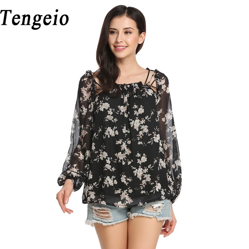 Tengeio Floral Print Chiffon Long Shirt Women Lantern Long Sleeve Top Women Shirt Blouse Lace Up