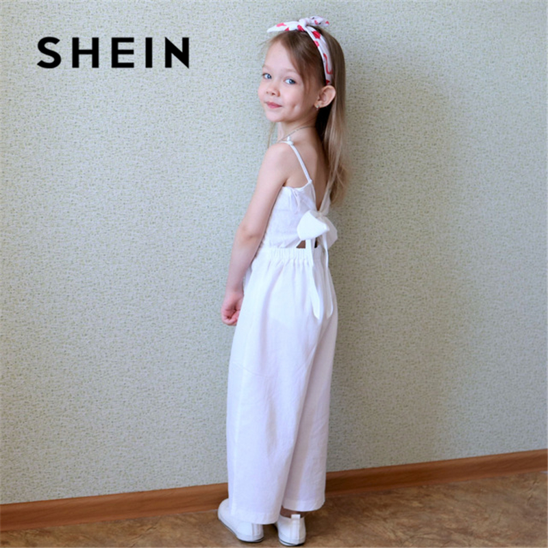 Image 5 - SHEIN White Solid Girls Button Up Front Cami Jumpsuit Children 2019 Spring Fashion Sleeveless Casual Jumpsuits For Kids Girls-in Overalls from Mother & Kids