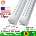 25PCS SMD 2835 T8 V shaped Integrated LED tube light 2.4m 8ft=65W 85-265V led tubes warranty 3 years Stock in USA Free Shipping