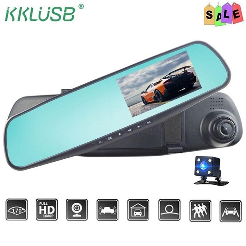 4.3/'/' Car DVR 1080P Dual Len Auto Mirror Camcorder Recorder Rearview Camera GOLD