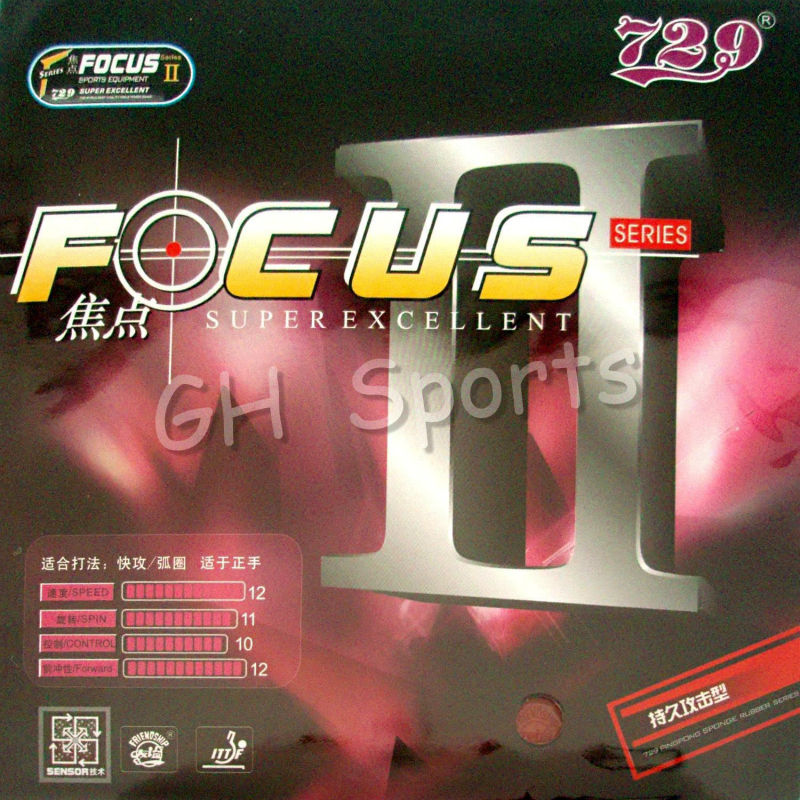RITC 729 Friendship FOCUS II Attack + Loop Pips-In Table Tennis PingPong Rubber With Sponge
