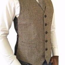 Твид винтажная простая для свадебного жилета мужская шерсть елочка коричневый твид жилет костюм на выпускной для человека индивидуальный заказ