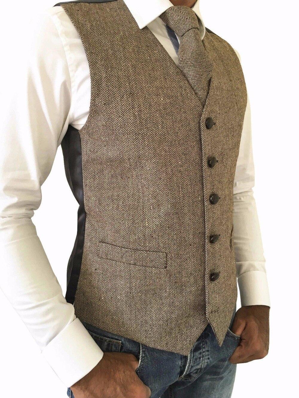 b73ec38f3 Chaleco de Tweed Vintage de boda rústica para hombre chaleco de lana de  espiga de TWEED marrón Chaleco de graduación para hombre hecho a medida