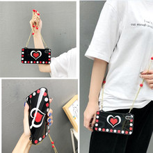 love heart strap silicone phone case for iphone XR 7 8 6 6s plus XS MAX X case fashion love heart pearl pattern soft protective стоимость