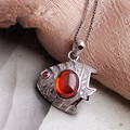 Brand new deep sea fish 925 silver inlaid garnet necklace chain with box chain necklaces & pendants