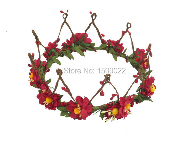 2f6708acfd7 Retro Wedding Small Crown Red Cherry Blossom Flowers Headdress European  Style Christmas Headwear Diy Maternity Photography Props