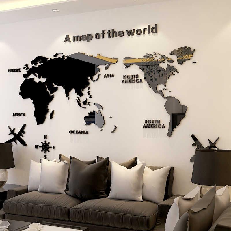 Peta Dunia Akrilik 3D Kristal Padat Dinding Kamar Tidur dengan Ruang Tamu Kelas Stiker Kantor Dekorasi Ide