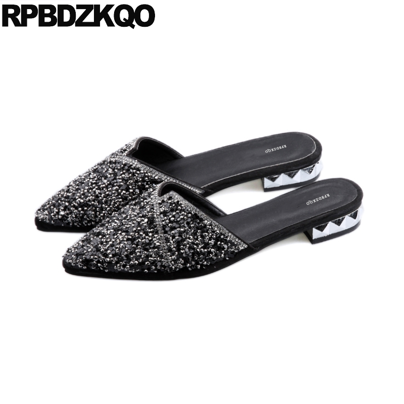 0813bc08acb99 slides fashion shoes 2018 women wedding slippers glitter sandals designer  suede autumn pointed toe bling chinese black mules-in Flip Flops from Shoes  on ...