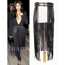 פנטסטי ארוך פרינג חגורת עור שחור מעצב חגורות לנשים ארוך גדילים פין אבזם חגורת מחוך ספוט על אופנתי! BG 006