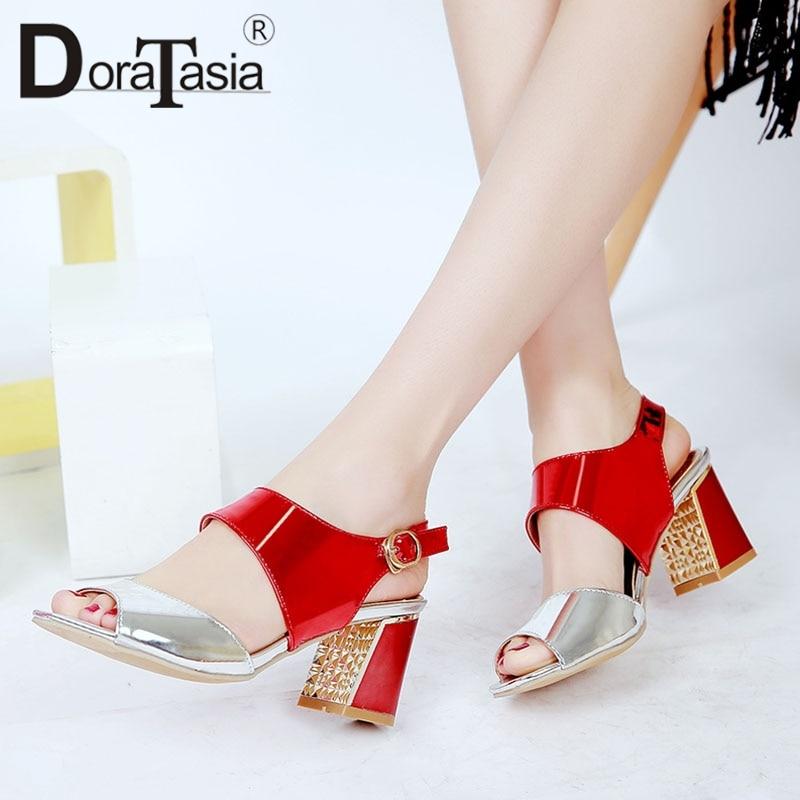 Sandali tacchi per Fashion New 43 donna misti rosa donne Doratasia Colori argento Big estate scarpe Casual Blu alti 33 le Size q4P5XE