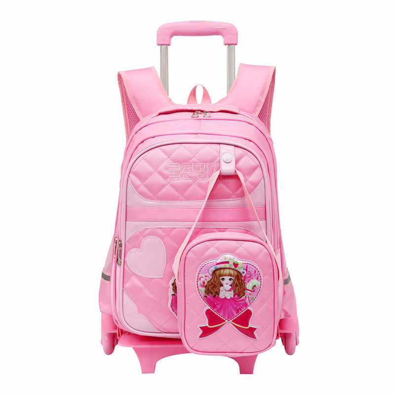 2pcs/set Removable Children School Bags with 2/6 Wheels for Girls Trolley Backpack Kids Wheeled Bag pink Book bag travel luggage