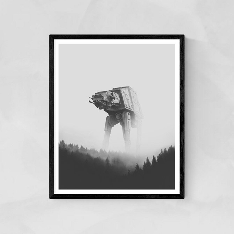 Aliens Poster Print Robots Display Wall Art Canvas Painting Fantastic Robotic Star Wars Black and White Picture Home Wall Decor image