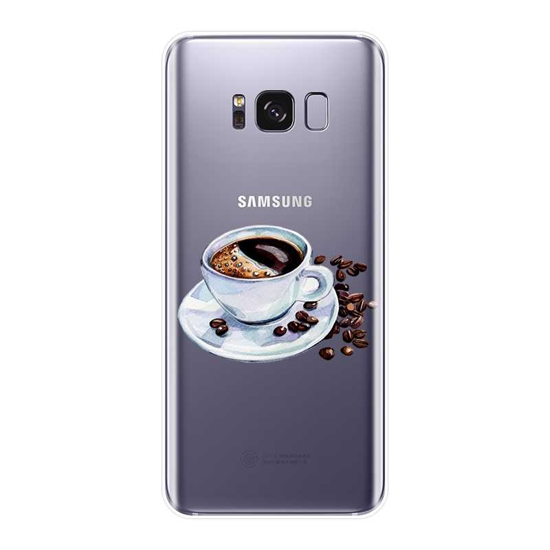 Voor Samsung Galaxy Note 4 5 8 9 Telefoon Case Silicone Koffie Meisje Soft Back Cover Voor Samsung Galaxy S5 s6 S7 Rand S8 S9 Plus Case