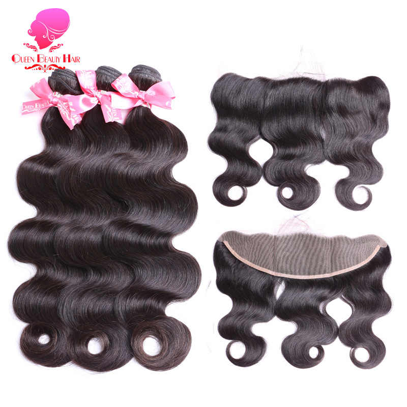 QUEEN Hair Pre Plucked Free Part Closure Lace Frontal with Bundle Remy Human Hair Brazilian Body Wave 2/3/4 Bundles with Frontal