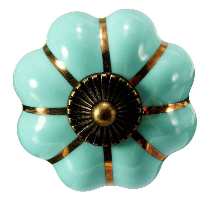40mm Turquoise Blue Pumpkin Ceramic Cabinet Knobs Kitchen Cupboard ...