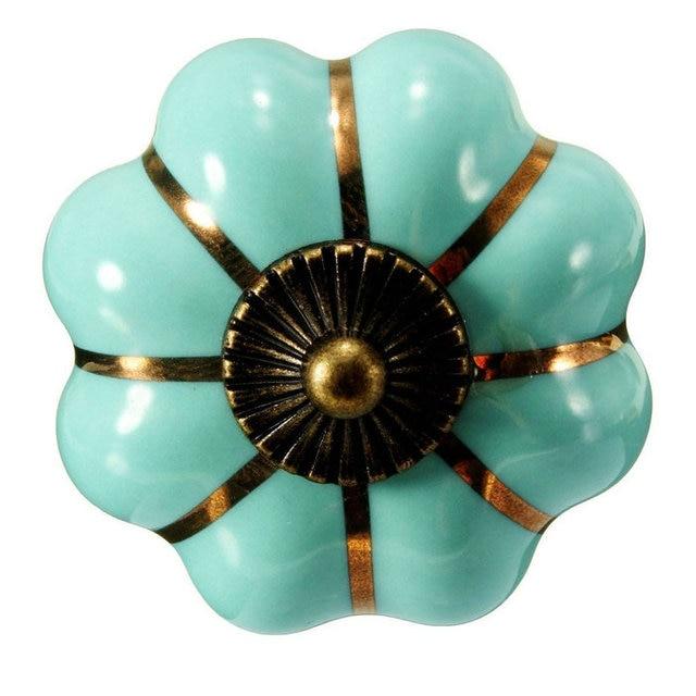 40mm Turquoise Blue Pumpkin Ceramic Cabinet Knobs Kitchen Cupboard ...