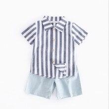 Детская одежда в ковбойском стиле с короткими рукавами для мальчиков Шорты хлопковый костюм детская одежда летняя рубашка в полоску из двух частей