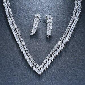 Image 4 - EMMAYA AAA Temizle Kübik Zirkonya Kolye Küpe Takı Setleri CZ Zirkon Taş düğün takısı Setleri Gelinler için
