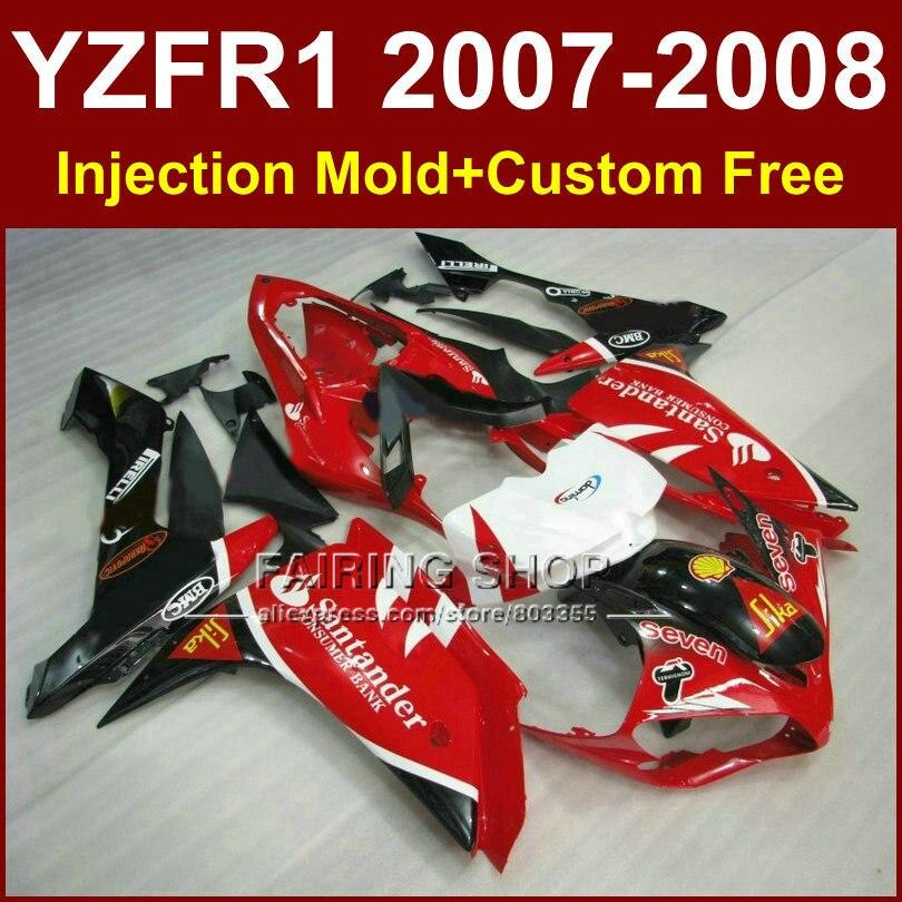 Sika red white fairing set for YAMAHA YZFR1 2007 2008 fairings kits R1 YZF R1 YZF1000 YZF 1000 07 08santander bodyworks запчасти для мотоциклов yamaha yzf1000 r1 07 08