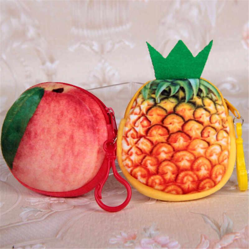 Kawaii Bentuk Buah 7 Buah Mewah Dompet Koin Strawberry Orange Nanas Dompet Anak Saku Koin Kantong Hadiah Koin Tas Kantong dompet