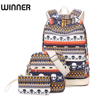 Geometric Backpack Skull Canvas Bookbags