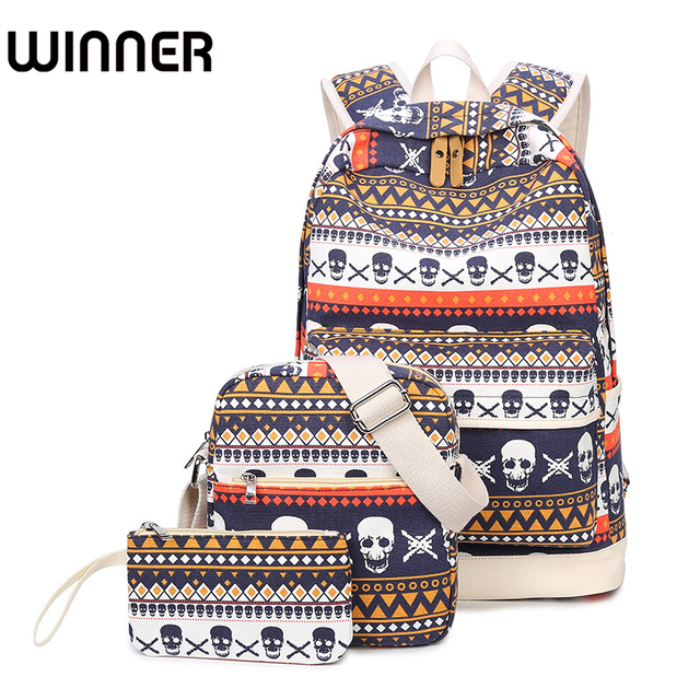 Printing Women Geometric Backpack Skull Canvas Bookbags Set Backpack School Bags for Teenage Girls