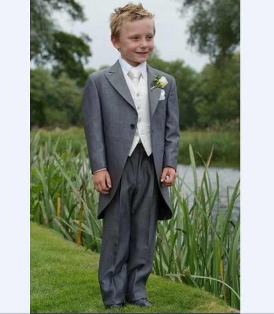 Thorndike New Arrival Long Coat Tuxedos Notch Lapel Children Suit Black/White Kid Wedding/Prom Suits 3 Piece( Jacket+Vest+Pants)