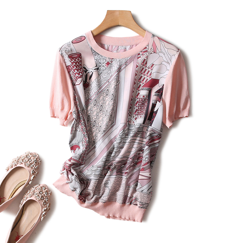 Luxury Designer Brand   Blouses   for Women O Neck Short Sleeve Vintage Abstract Pattern Printed Silk Spliced Knitted   Blouses     Shirts