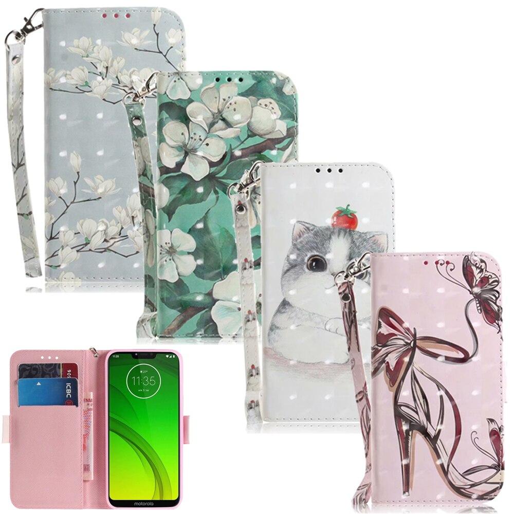 3D Flower Leather Wallet Phone Bag For Motorola Moto G5S G6 E5 Plus Case Moto One P30 Play G7 Plus Play Power Flip Cases Cover