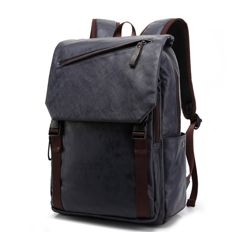 ФОТО Fashion Men Business Casual School Faux Synthetic PU Leather Laptop Backpack High Quality Travel Backpacks Daypack Mochila